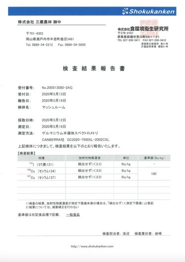 放射能及び残留農薬検査結果(2020年5月)
